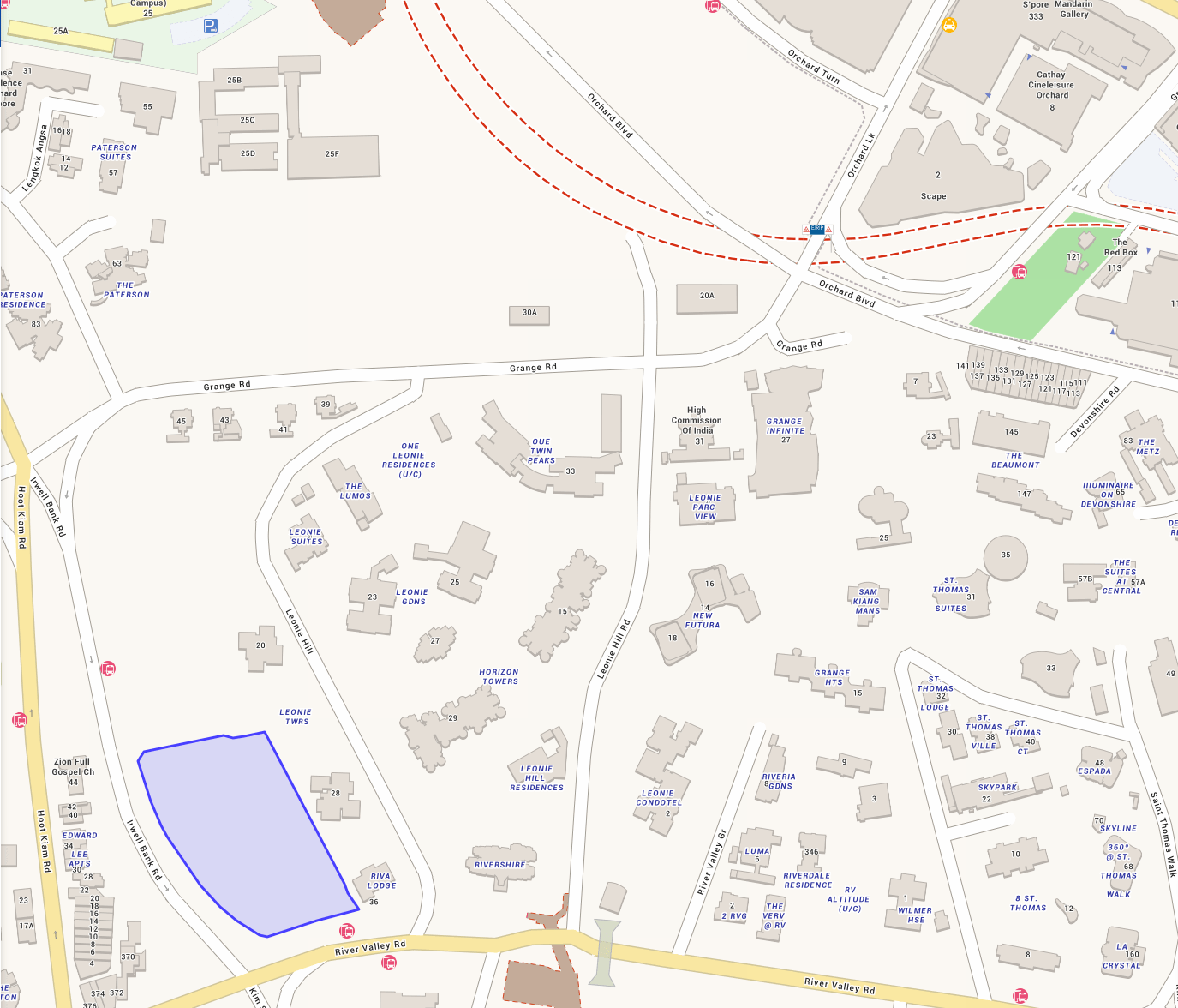 One Map Location Showing Where Irwell Hill Residences Condo at Irwell Bank Road River Valley by CDL